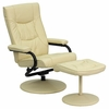 Contemporary Cream Leather Recliner and Ottoman with Leather Wrapped Base - BT-7862-CREAM-GG