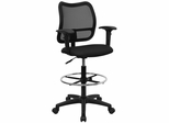 Contemporary Mesh Drafting Stool - Black Fabric Seat, Arms - WL-A277-BK-AD-GG