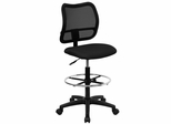 Contemporary Mesh Drafting Stool - Black Fabric Seat - WL-A277-BK-D-GG