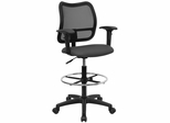Contemporary Mesh Drafting Stool - Gray Fabric Seat, Arms - WL-A277-GY-AD-GG