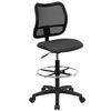 Contemporary Mesh Drafting Stool - Gray Fabric Seat - WL-A277-GY-D-GG