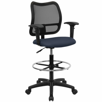 Contemporary Mesh Drafting Stool - Navy Blue Fabric Seat, Arms - WL-A277-NVY-AD-GG