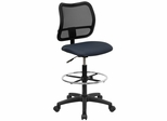Contemporary Mesh Drafting Stool - Navy Blue Fabric Seat - WL-A277-NVY-D-GG
