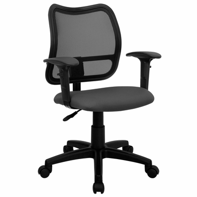 Contemporary Mesh Task Chair - Gray Fabric Seat, Arms - WL-A277-GY-A-GG
