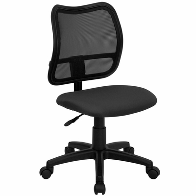 Contemporary Mesh Task Chair - Gray Fabric Seat - WL-A277-GY-GG