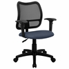 Contemporary Mesh Task Chair - Navy Blue Fabric Seat, Arms - WL-A277-NVY-A-GG