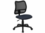Contemporary Mesh Task Chair - Navy Blue Fabric Seat - WL-A277-NVY-GG