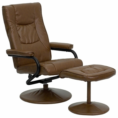 Contemporary Palimino Leather Recliner and Ottoman with Leather Wrapped Base - BT-7862-PALIMINO-GG