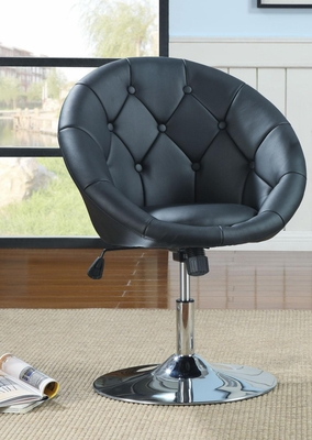 Contemporary Round Tufted Swivel Chair in Black - 102580