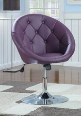Contemporary Round Tufted Swivel Chair in Purple - 102581
