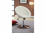 Contemporary Round Tufted Swivel Chair in White - 102583