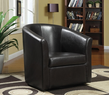 Contemporary Styled Accent Swivel Chair in Brown Vinyl Upholstery - 902098