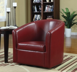 Contemporary Styled Accent Swivel Chair in Red Vinyl Upholstery - 902099