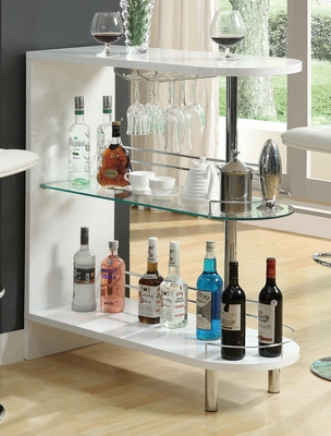 Contemporary White Bar Table with Glass Shelf - 101064