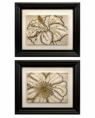 Contour Line Art Flowers (Set of 2) - IMAX - 12621-2