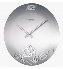 Convexed Silver Metal Wall Clock with Movable Numbers - 1121
