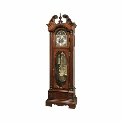 Coolidge Grandfather Clock - Distressed Hampton Cherry - Howard Miller