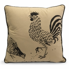 Corbel Rooster and Hen Pillow - 18 x 18 - IMAX - 42086