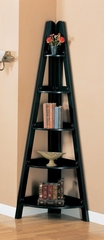 Corner Bookshelf in Rubbed Black - Coaster