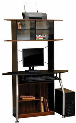Corner Computer Tower Silver / Black / Colonial Maple - Sauder Furniture - 408329