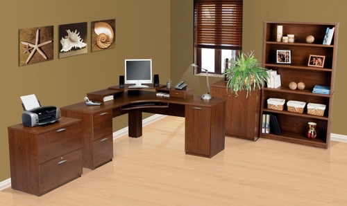 Corner Desk Set 1 in Tuscany Brown - Elite - Bestar Office Furniture - 68851-63
