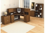 Corner Desk Set 4 in Tuscany Brown - Elite - Bestar Office Furniture - 68853-63