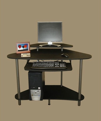 Corner Desk with Monitor Shelf in Black - RiverRidge - 05-007