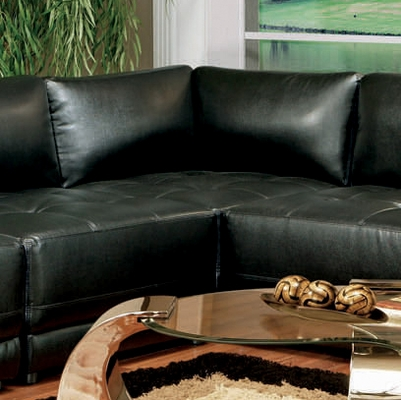 Corner Unit in Black Leather - Coaster