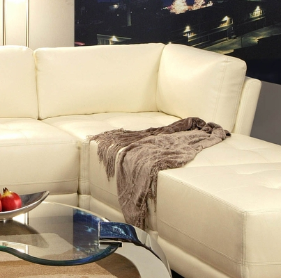 Corner Unit in White Leather - Coaster