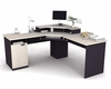 Corner Work Station in Sand Granite and Charcoal - Hampton - Bestar Office Furniture - 69430-86