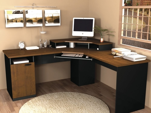 Corner Work Station in Tuscany Brown and Black - Hampton - Bestar Office Furniture - 69430-63
