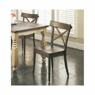 Coronado Weathered Pine and Gray Loom Side Chair - Set of 2 - Largo - LARGO-ST-D210-43C
