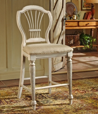 Counter Bar Stool - Wilshire Non-Swivel Counter Stools in Antique White (Set of 2) - Hillsdale Furniture - 4508-806