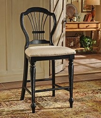 Counter Bar Stool - Wilshire Non-Swivel Counter Stools in Rubbed Black (Set of 2) - Hillsdale Furniture - 4509-806
