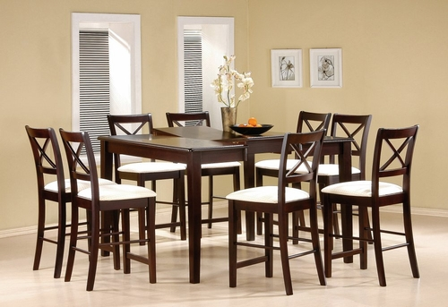 Counter Height Dining Table and Stool Set in Cappuccino - Coaster