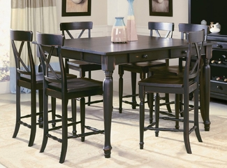 Counter Height Table and Chairs Set in Black-Sand Through 2 - 715-SET-2