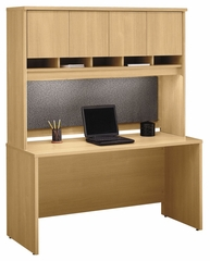 "Credenza 60"" and Hutch Set - Series C Light Oak Collection - Bush Office Furniture - WC60361-62"