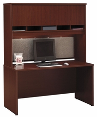 "Credenza 60"" and Hutch Set - Series C Mahogany Collection - Bush Office Furniture - WC36761-62"