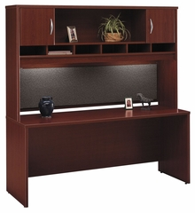 "Credenza 72"" and Hutch Set 1 - Series C Mahogany Collection - Bush Office Furniture - WC36726-66"