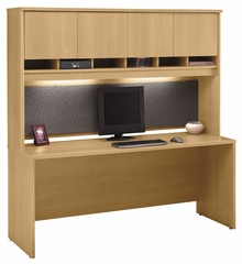 "Credenza 72"" and Hutch Set 2 - Series C Light Oak Collection - Bush Office Furniture - WC60326-77"