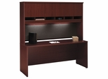 "Credenza 72"" and Hutch Set 2 - Series C Mahogany Collection - Bush Office Furniture - WC36726-77"