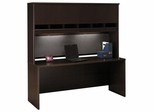 "Credenza 72"" and Hutch Set - Series C Mocha Cherry Collection - Bush Office Furniture - WC12926-77"