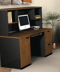 Credenza and Hutch in Tuscany Brown and Black - Hampton - Bestar Office Furniture - 69450-63