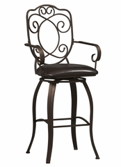 "Crested Back Bar Stool 30"" - Linon Furniture - 02787MTL-01-KD-U"
