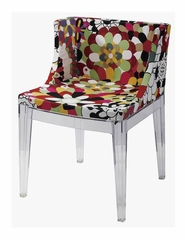 Crystal Clear Dining Arm Chair with Floral Fabric Cover (Set of 2) - DC-493-SET