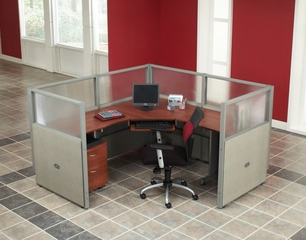 "Cubicle Panel System, 1X1 Layout, 47""H, 72""W, Polycarbonate Panel Tops - OFM - R1X1-4772-P"