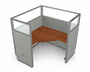 "Cubicle Panel System, 1X1 Layout, 63""H, 60""W, Polycarbonate Panel Tops - OFM - R1X1-6360-P"