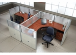 "Cubicle Panel System, 1X2 Layout, 47""H, 72""W, Polycarbonate Panel Tops - OFM - R1X2-4772-P"