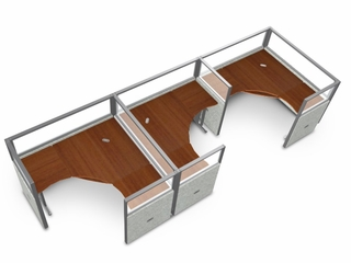 "Cubicle Panel System, 1X3 Layout, 47""H, 60""W, Polycarbonate Panel Tops - OFM - R1X3-4760-P"