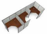 "Cubicle Panel System, 1X3 Layout, 63""H, 60""W, Vinyl Panels - OFM - R1X3-6360-V"